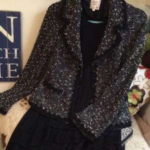 Nanette Leopore tweed blazer/jacket black white